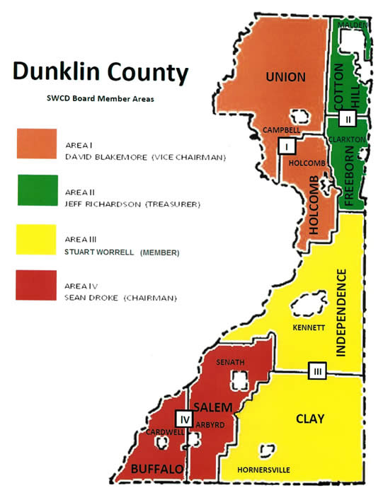 Dunklin County Board Member Area Map