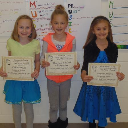 L-R St. George School: 3rd Place Chloe Brune, 2nd Place Reagan Budnik, 1st Place Aspen Meyer